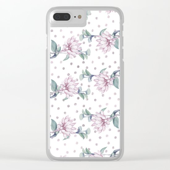 Rose Gold Roses Polka Dots Clear iPhone Case