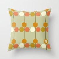 hexagon Throw Pillows featuring Hexagon by clare nicolson