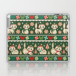 Striped Gingerbread Kitties (Green) Laptop & iPad Skin