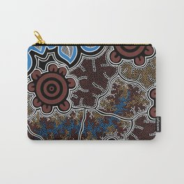 Water Lilly Dreaming - Authentic Aboriginal Art Carry-All Pouch