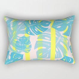 Linocut Monstera Neon Rectangular Pillow