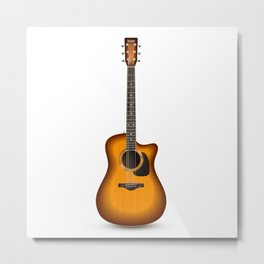 Guitar Realistic Isolated Metal Print