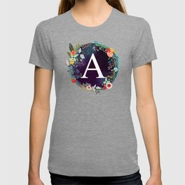 Personalized Monogram Initial Letter A Floral Wreath Artwork T-shirt