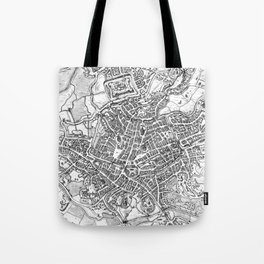 Vintage Map of Ghent Belgium (1650) BW Tote Bag