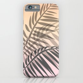 Palm exotic jungle leaves summer sunset pastel colors pink beige blush iPhone Case