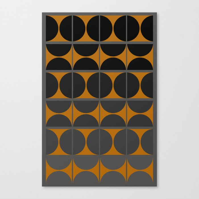 Black and Gray Gradient with Gold Squares and Half Circles Digital Illustration - Artwork Canvas Print