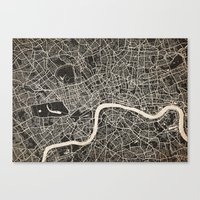 london map Canvas Prints featuring London map by Les petites illustrations
