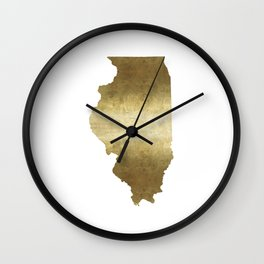 illinois gold foil state map Wall Clock