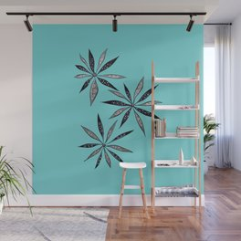 Elegant Thin Flowers With Dots And Swirls Wall Mural
