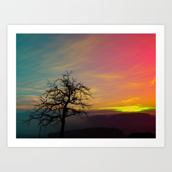Old tree and colorful sundown panorama | landscape photography Art Print