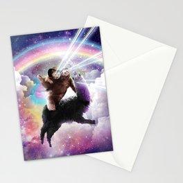 Laser Eyes Space Cat Riding Sloth Llama - Rainbow Stationery Cards
