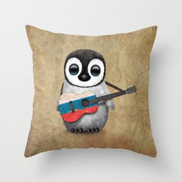 Baby Penguin Playing Russian Flag Guitar Throw Pillow