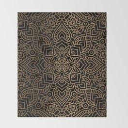 Black Gold Mandala Throw Blanket