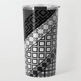 Black / white patchwork Travel Mug