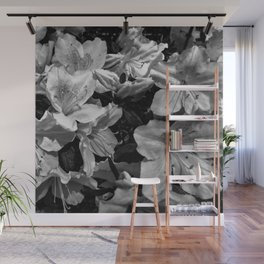 Azaleas in black and white Wall Mural