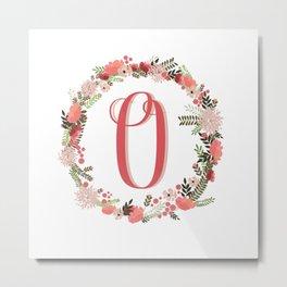 Personal monogram letter 'O' flower wreath Metal Print