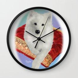 Samoyed, Taylor on a Royal Cushion Wall Clock