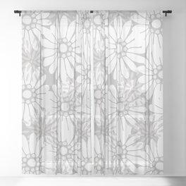 Summer Flowers Grey Sheer Curtain