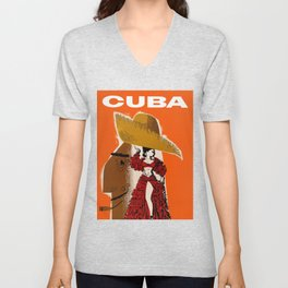 Vintage Travel Ad Cuba Unisex V-Neck