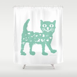 Mint cat drawing, cat drawing Shower Curtain