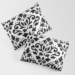 Scroll Damask Large Pattern Black on White Pillow Sham