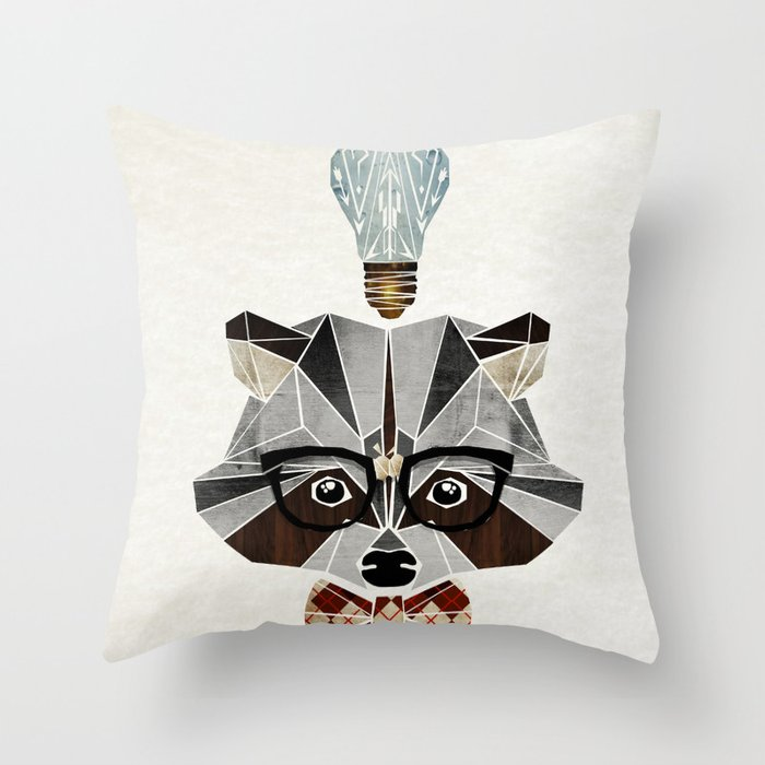 raccoon nerd Throw Pillow