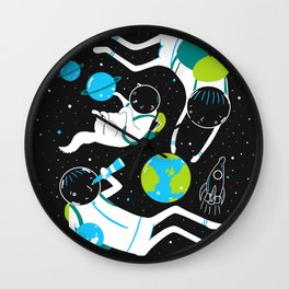 A Day Out In Space - Black Wall Clock