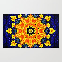 Yellow Orange Floral Madala  Background Dark Blue Rug