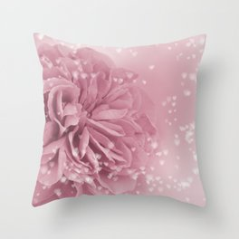 Light Pink Rose with hearts #1 #floral #art #society6 Throw Pillow