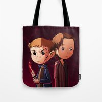 winchester Tote Bags featuring Winchester brothers by Kaori