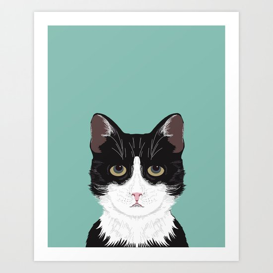 Quinn - Cute black and white cat tuxedo cat gifts for cat lady gift ideas cell phone case with cat Art Print