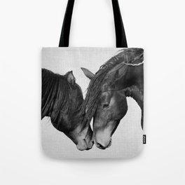 Horses - Black & White 4 Tote Bag