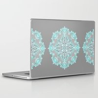bedding Laptop & iPad Skins featuring Teal and Aqua Lace Mandala on Grey by micklyn