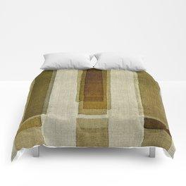 """""""Burlap Texture Greenery Columns"""" Comforters"""