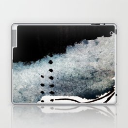 Closer - a black, blue, and white abstract piece Laptop & iPad Skin