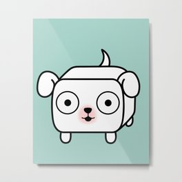 Pitbull Loaf - White Pit Bull with Floppy Ears Metal Print