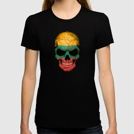 Dark Skull with Flag of Lithuania T-shirt