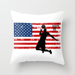 USA American Flag Basketball Basketball Player Gift Throw Pillow