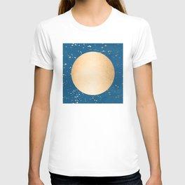 Paint Spatter Sun - Orange Sherbet Shimmer on Saltwater Taffy Teal T-shirt