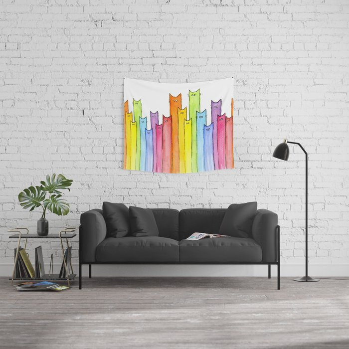 Cat Rainbow Watercolor Pattern Wall Tapestry