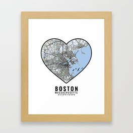 Boston Heart Map Art Framed Art Print