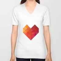 coffe V-neck T-shirts featuring Heart by Dizzy Moments