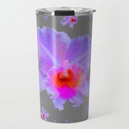 GREY ART TROPICAL LILAC CATTLEYA ORCHID FLOWERS Travel Mug