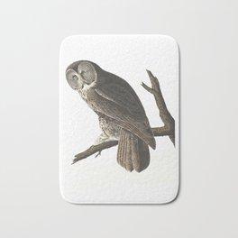 Great Cinereous Owl - Illustration by J.J. Audubon Bath Mat
