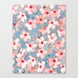 Shabby Chic Hibiscus Patchwork Pattern in Pink & Blue Canvas Print