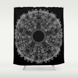 GEOMETRIC NATURE: SEA URCHIN b/w Shower Curtain