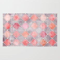 Rhythm of the Seasons - coral pink & grey Rug