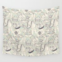 shopping Wall Tapestries featuring Paris Shopping by RED ROAD STUDIO