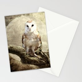 Rustic Owl Bird Moon Branch Modern Country Farmhouse Art A413 Stationery Cards