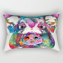 Colorful Pig Art - Squeal Appeal - By Sharon Cummings Rectangular Pillow